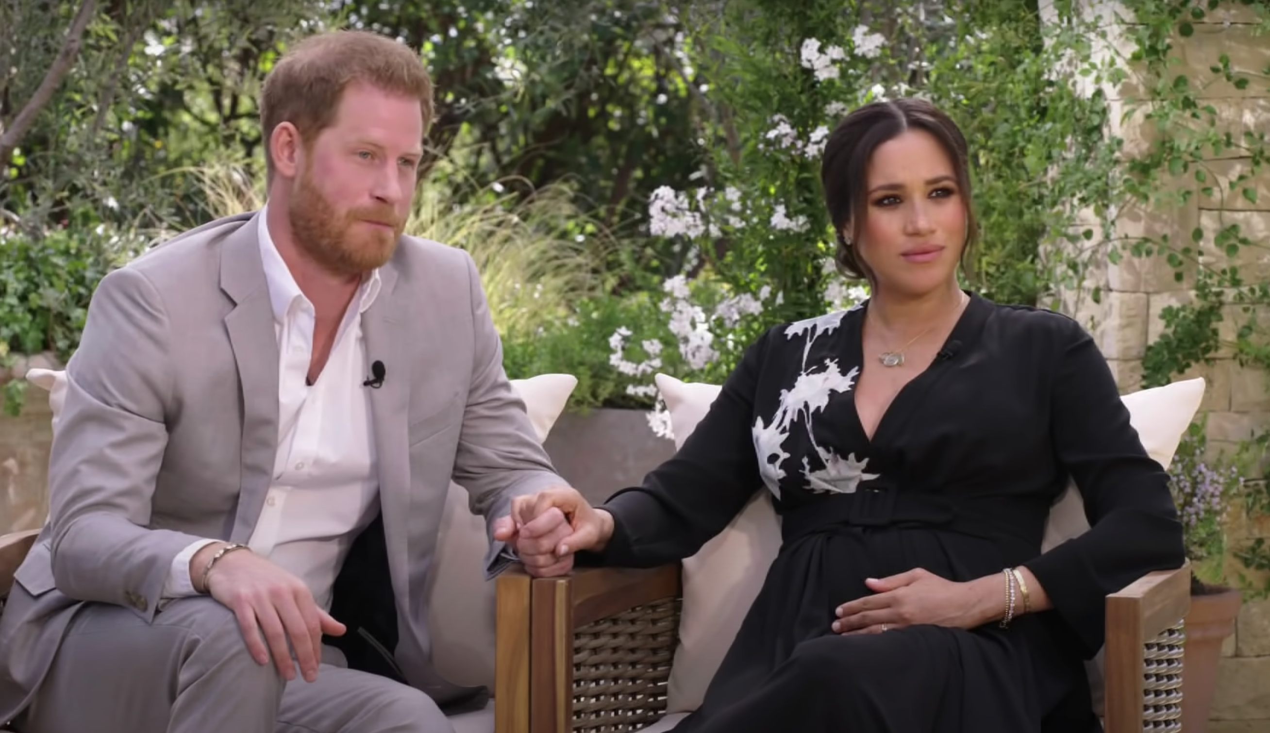 Meghan Markle sitting with Prince harry and oprah winfrey for the 2021 interview
